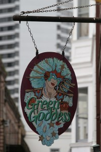 Green Goddess restaurant sign