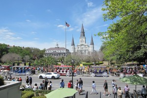 Jackson Square with the St Louis Cathedral in the back.
