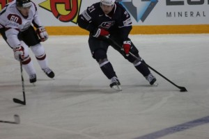 US Forward Drew LeBlanc with the puck