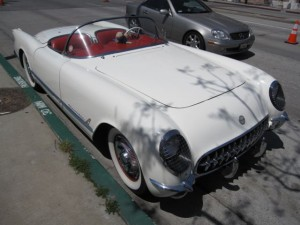 Surrounding streets were also filled with classics, here a 50's Corvette convertible.