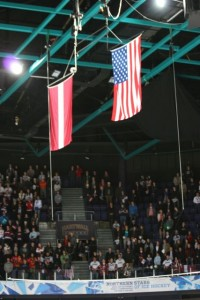 Latvian flag and US flag