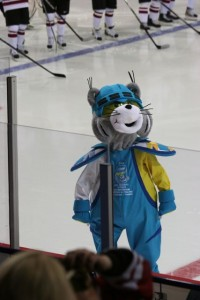 2013 World Championship mascot, wearing half Finnish/half Swedish colors.