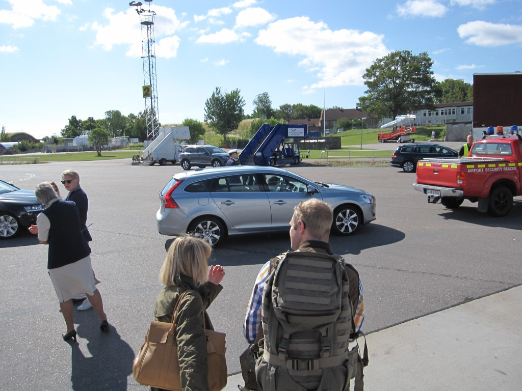 King Carl XVI Gustaf in their Volvo wagon