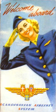 SAS Advertising material with hostess from as early as 1948