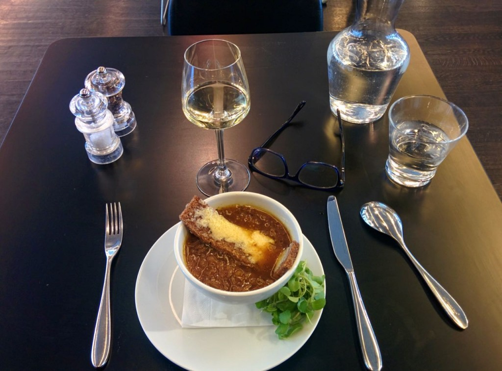 Onion soup and a Port to start