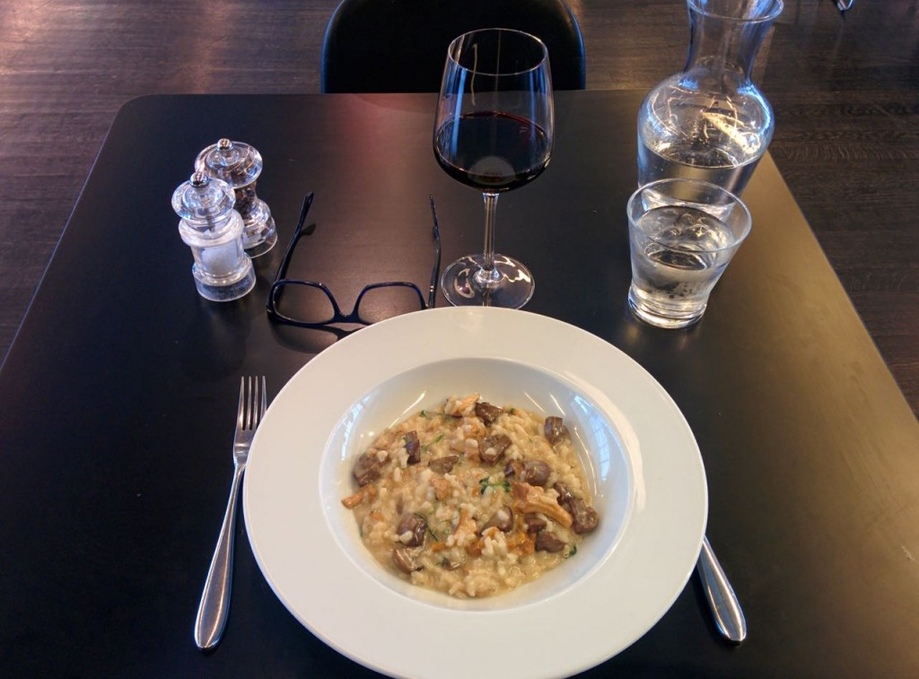 Mushroom Risotto paired with a nice Côtes du Rhône