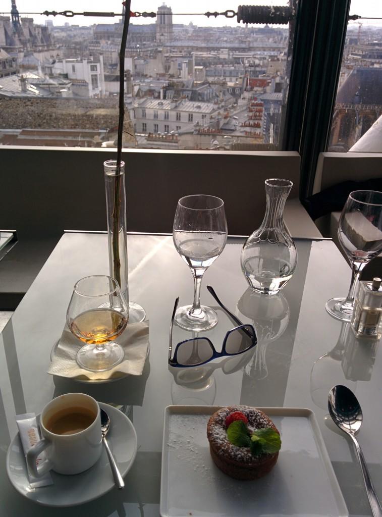 Chocolate fondant, cafe et un Cognac