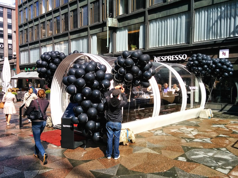 This is the structure they used to give out free samples to celebrate the two year anniversary of Nespresso in Helsinki.
