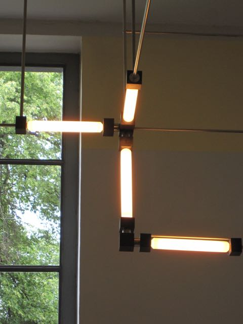 Detail of light fixture in Walter Gropius office at the Bauhaus University in Weimar