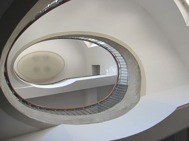 A Nouveau stairs in a different building at the Bauhaus University building in Weimar.