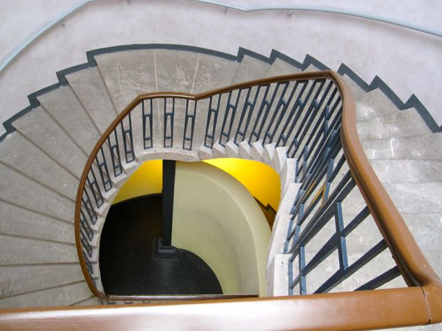 Looking down from the top of the stairs at the Bauhaus University building in Weimar that housed Walter Gropius office.