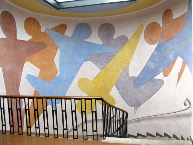 Mural in the stairway leading up to the floor where Walter Gropius office was at the Bauhaus University in Weimar. By Oskar Schlemmer (1888-1943) done in 1923.