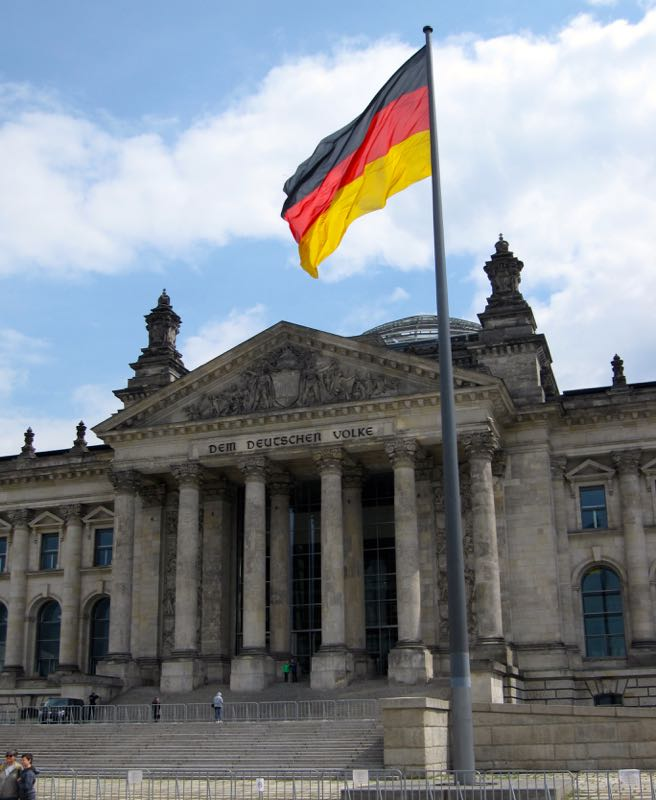 Reichstag building Berlin where the German Bundestag (Parliament) meets.