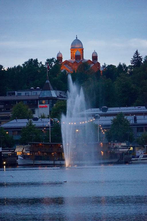 Lappeenranta harbor with the Church