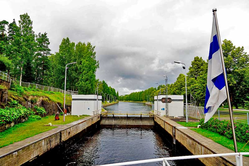 Mälkiä lock locking back towards lake Saimaa