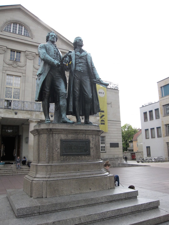 Schiller and Goethe in front of the Opera house in Weimar