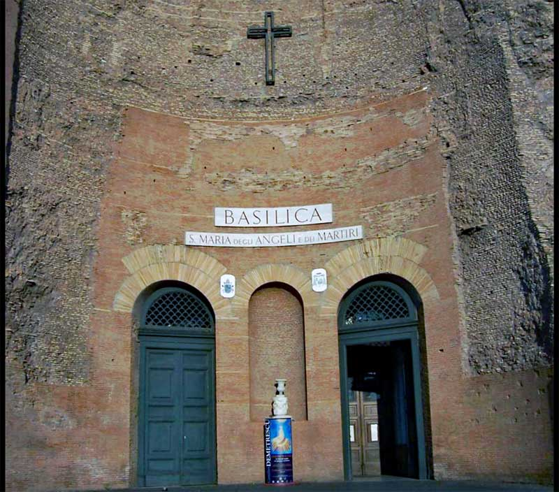 Entrance to Santa Maria degli Angeli e dei Martiri built into the ruins of the Diocletian baths