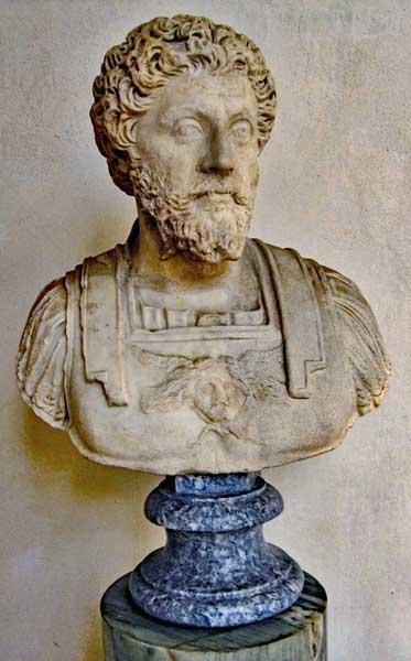 Marcus Aurelius, Roman emperor 161-180, co emperor with Lucius Verus 161 - 169 (when Lucius Verus died).