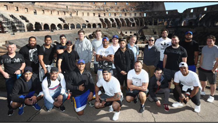 The All Black team at the Colosseum in Rome