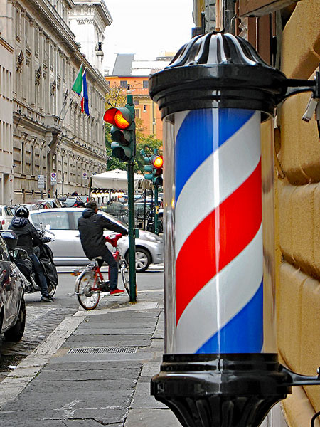 Barber pole in Rome