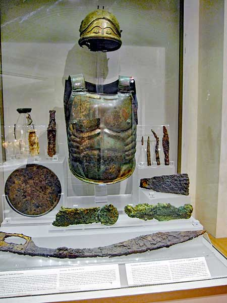 Armor and weapons on display in the museum at the baths were found in a 5th century BC tomb in Lanuvium, which was near Rome