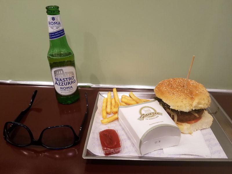 Vegan burger and a beer at Fonzie