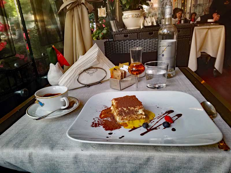 Harry's dessert with espresso and a Grappa