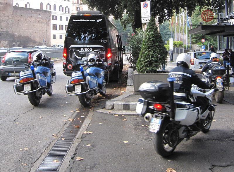 All Blacks van in Rome with Police MC escort