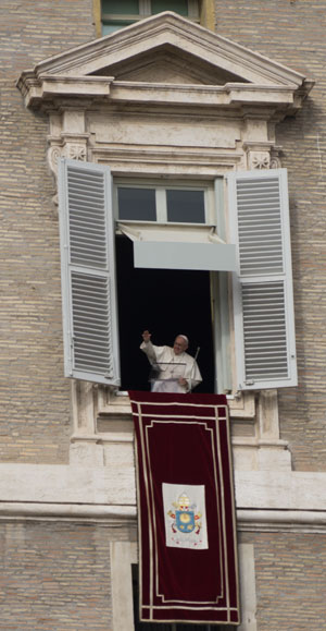 The window where the Pope will appear on Sundays at noon when he is in Rome