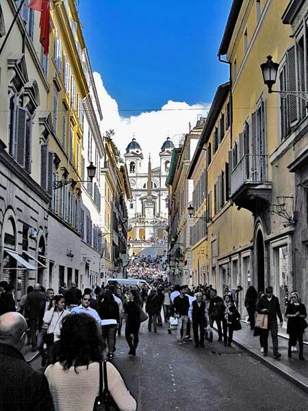 View of the Spanish steps from Via dei Condotti