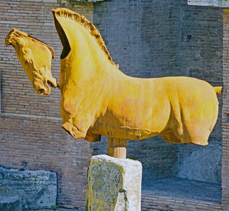 One of Gustavo Aceves horse sculptures at Trajan's market in Rome part of the Lapidarium exhibition traveling the world.