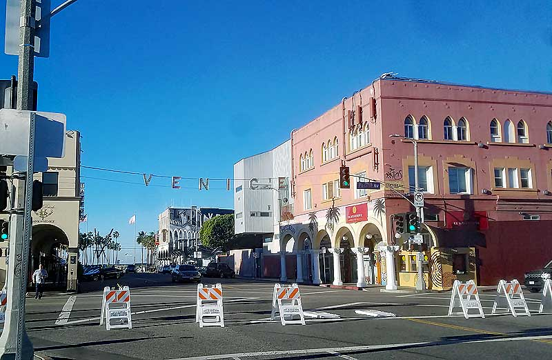 Preparations for the lightjng of the Venice sign at Windward and Pacific tonight