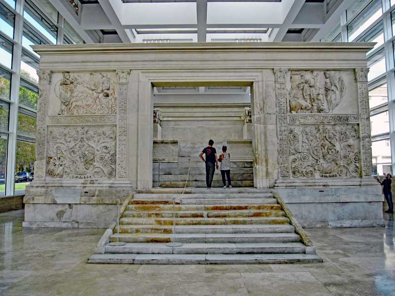 "Ara Pacis Augustae ""Altar of Augustan Peace"" dedicated to Pax, Roman goddess of peace."