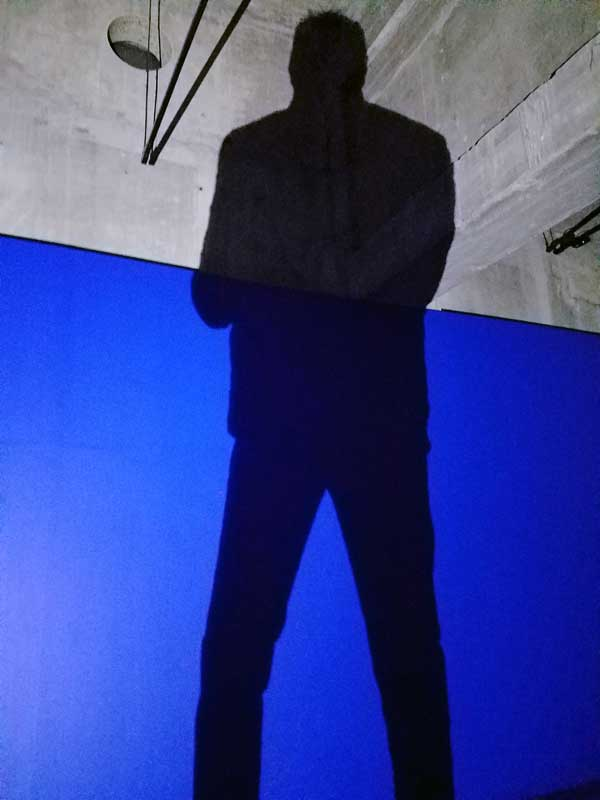 xDominique Gonzalez-Foerster, Séance de Shadow II (bleu) 1998, in the Tanks allows the visitor to take part in making the art.