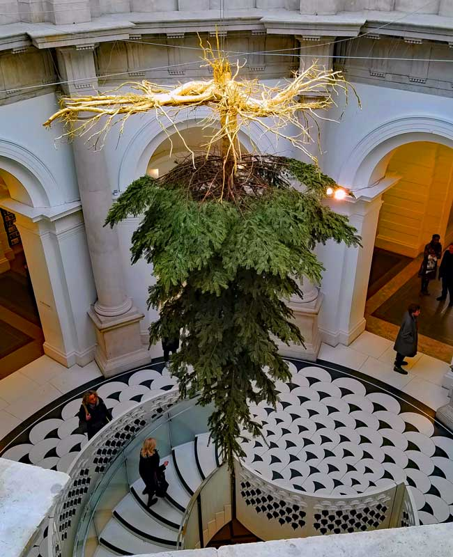Shirazeh Houshiary's Christmas Tree at tate Britain Millbank entrance