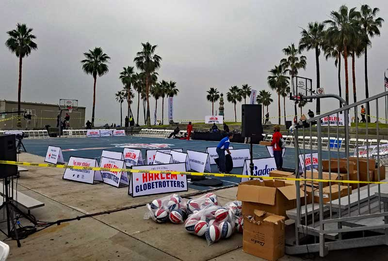 Harlem Globetrotters setting up this morning in Venice.