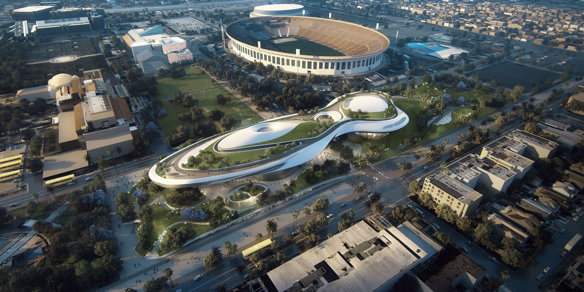 View from above of the Rendering of the Lucas Museum of Narrative Arts new museum to be built in Los Angeles. The Los Angles Coliseum is next to the new museum building.
