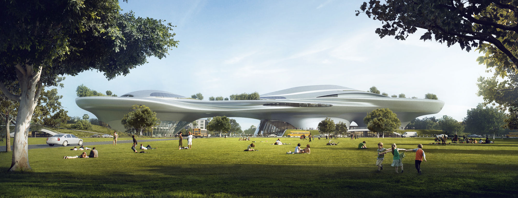 Rendering of the Lucas Museum of Narrative Arts new museum to be built in Los Angeles