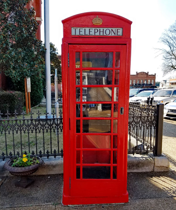 British telecom model K6 phone booth dating to the 1930's in the town square Oxford MS