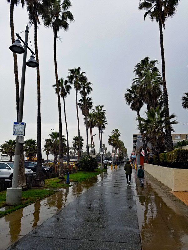 A deserted Venice Boardwalk on a rainy Tuesday February 21 2017