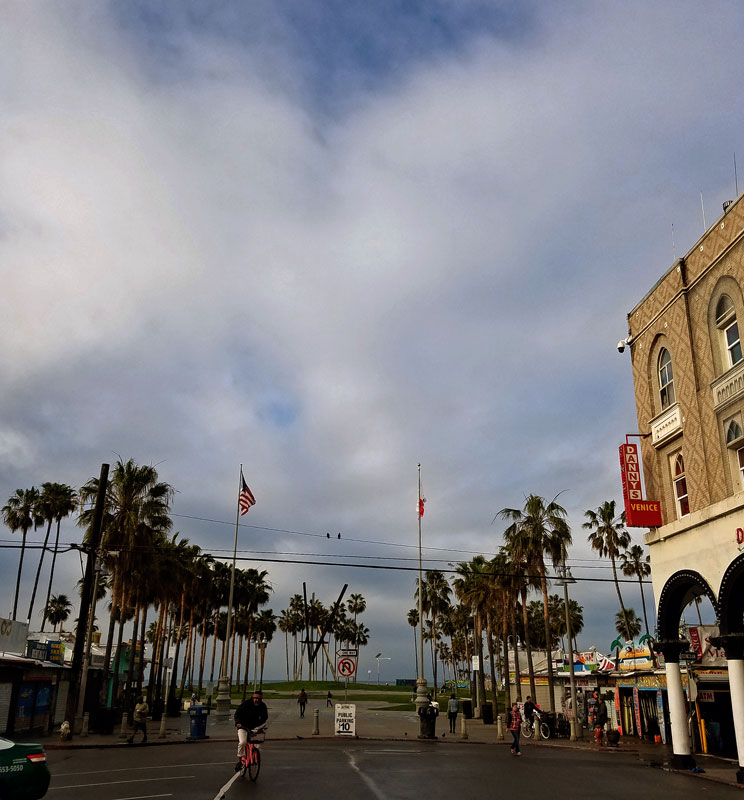 Venice boardwalk at Windward Avenue this morning Sunday February 26 - no rain at this moment, but it's in the air