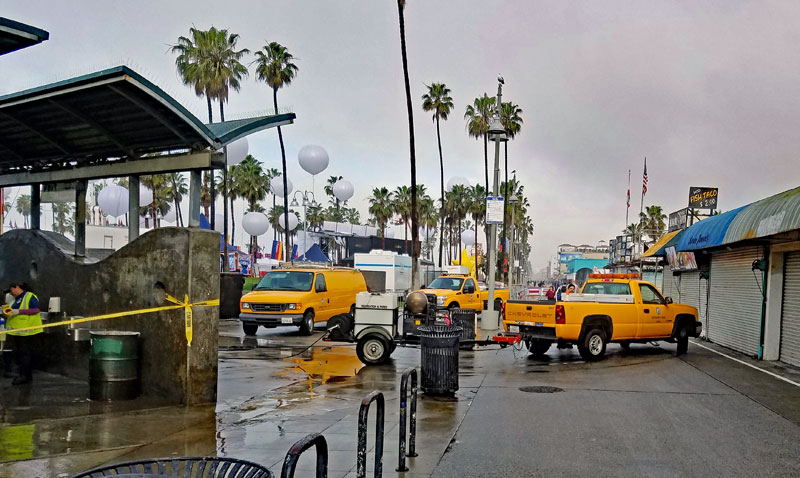 Cleanup underway for the fashion show in Venice this afternoon