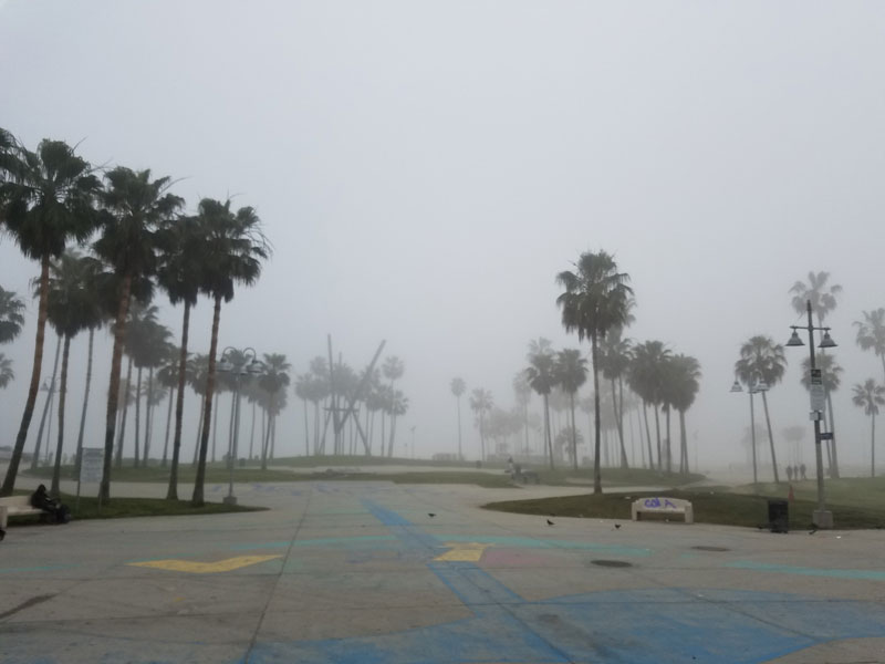 The Venice Boardwalk looking towards the Pacific ocean, all in a thick fog.