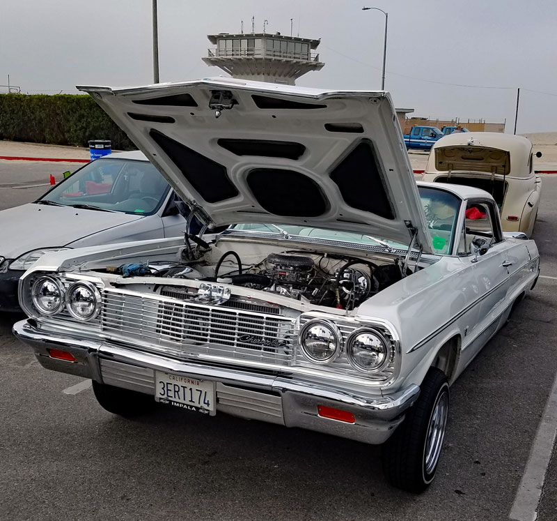 Hood up to show the innards of this 70's ride