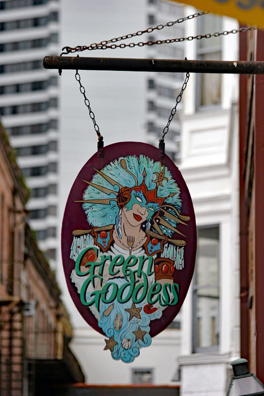 Green Goddess sign