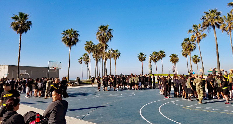 Army personnel at the basketball courts off the Venice Boardwalk this morning