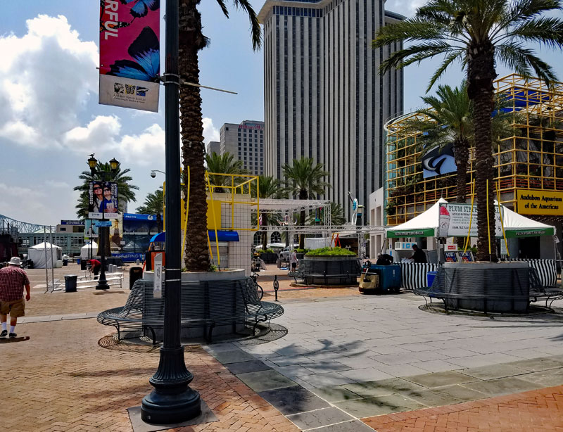 Setup of stages and boots at Riverwalk and Woldenberg park