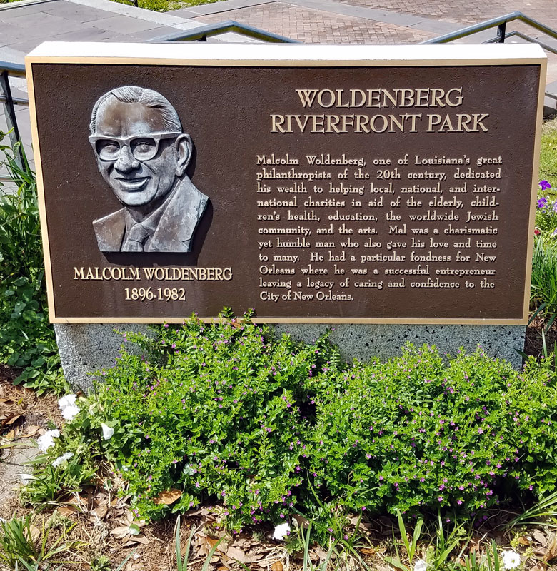 Plaque to honor Malcolm Woldenberg in Woldenbereg Riverfront Park