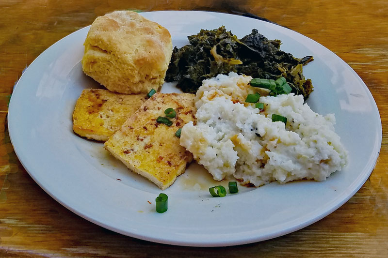 Red Eye Grits and Greens hold the eggs style