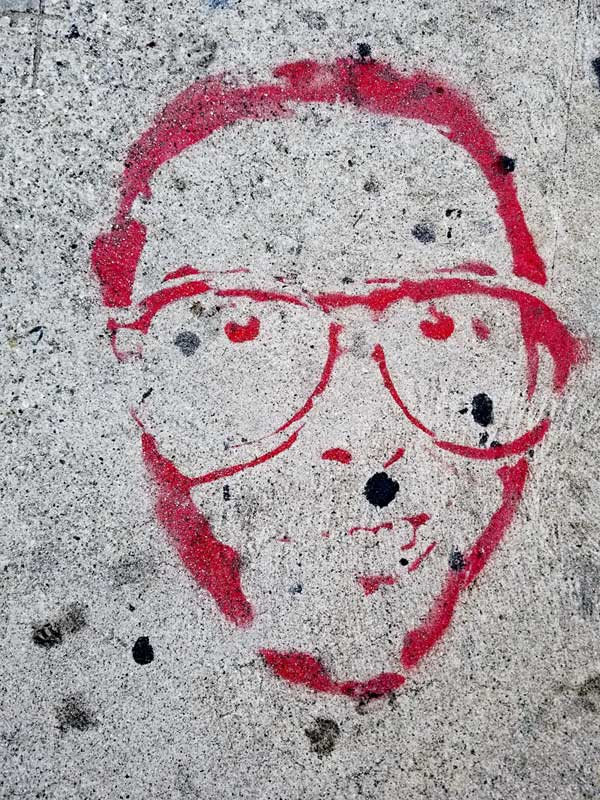 Guy in glasses - Sidewalk art